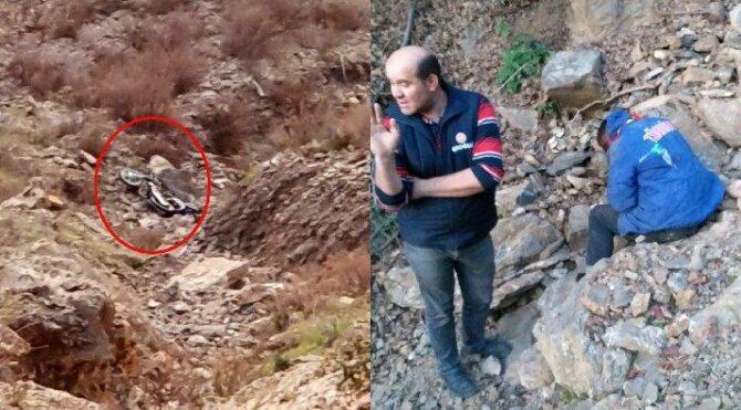 Kaza yaptı 50 metrelik uçurumda mahsur kaldı