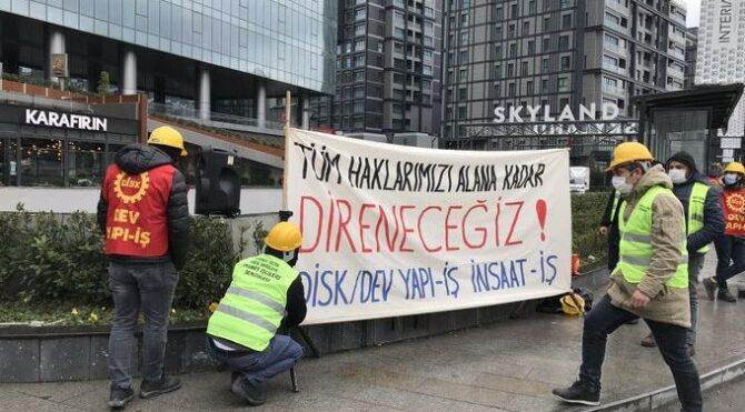 Ücretsiz izne çıkartılan işçiler eylem yaptı