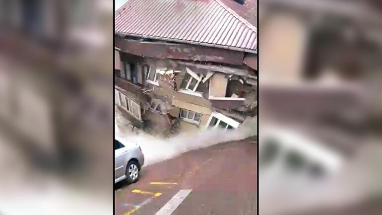 Çatırdama sesleri nedeniyle boşaltılmıştı 12 saat sonra çöktü