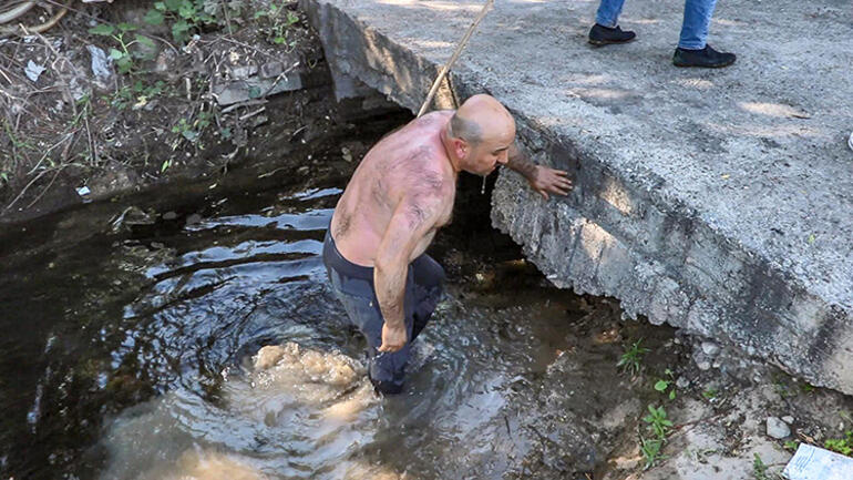 Kendi canını tehlikeye attı Dere suyu çare oldu