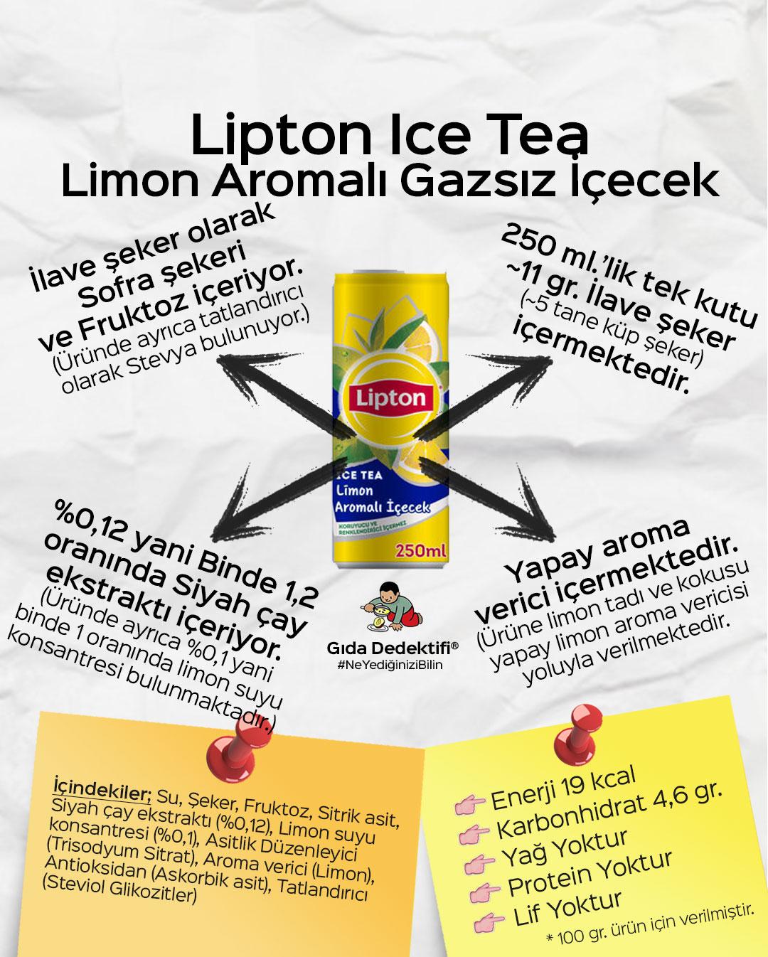 Lipton Ice Tea Limon Aromalı Gazsız İçecek - Gıda Dedektifi