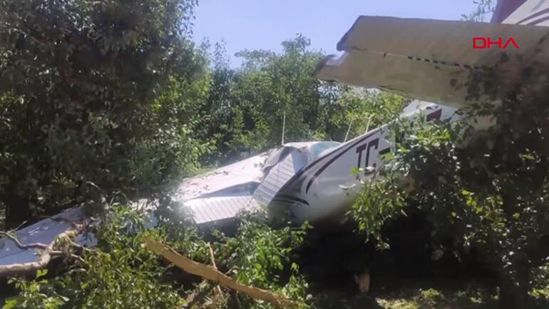 Son dakika: Bursada eğitim uçağı bahçeye düştü