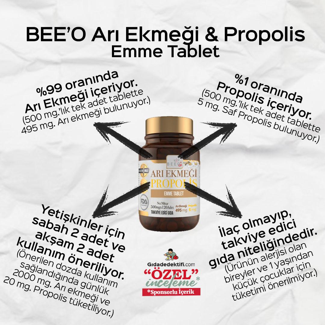 BEE'O Up Arı Ekmeği & Propolis Emme Tablet - Gıda Dedektifi
