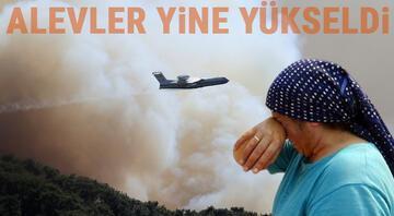 Marmaris yangınında son durum Alevler yine yükseldi, çalışmalar sürüyor