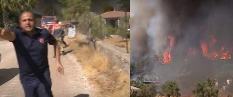 Marmariste Hisarönü Mahallesinde felaket devam ediyor Muhabirin zor anları: Yangının tam ortasındayız, evler yanıyor