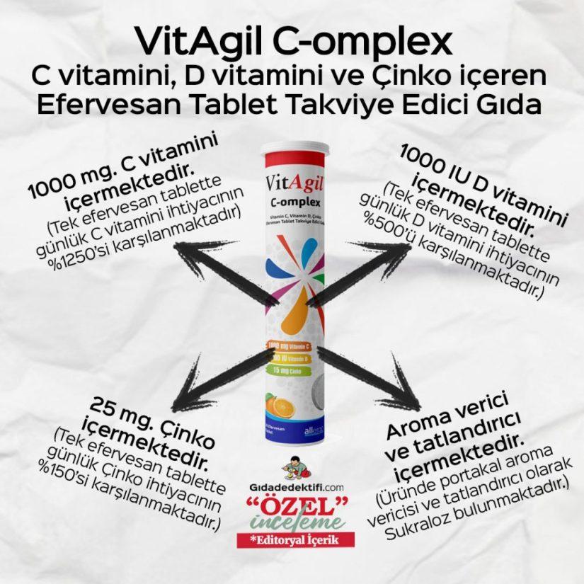 VitAgil C-omplex Efervesan Tablet Takviye Edici Gıda - Gıda Dedektifi