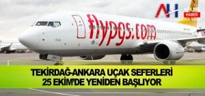 Tekirdağ-Ankara Uçak Seferleri 25 Ekim'de Yeniden Başlıyor