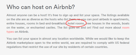 Who can host in Airbnb (hotels rooms)