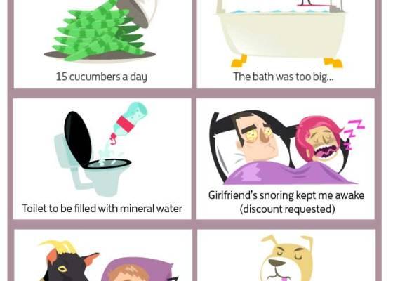 Infografía de encusta de Skyscanner de las peticiones más raras en hoteles