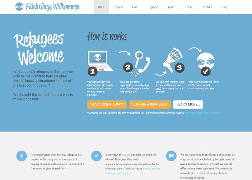 Web de refugees welcome