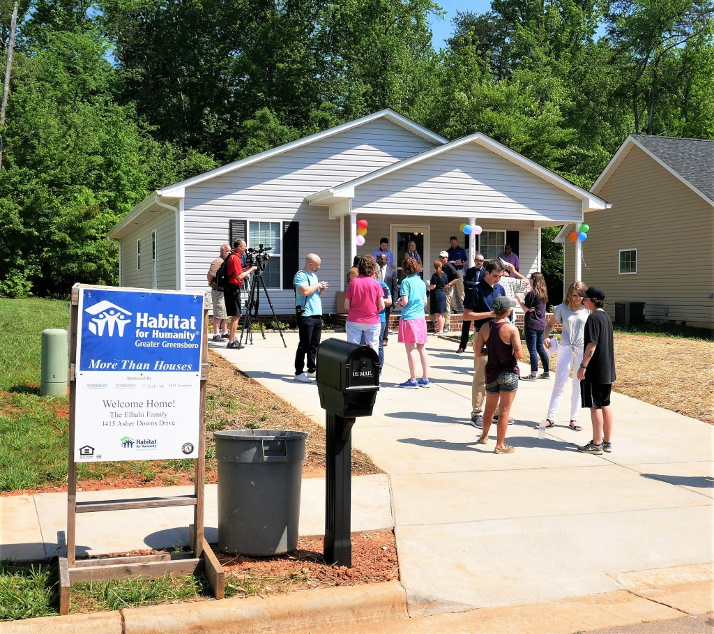 The house was built as a hospitality suite for the Wyndham Championship golf tournament in Greensboro. Wyndham International took down the building and rebuilt it on this site to become the family's new home.