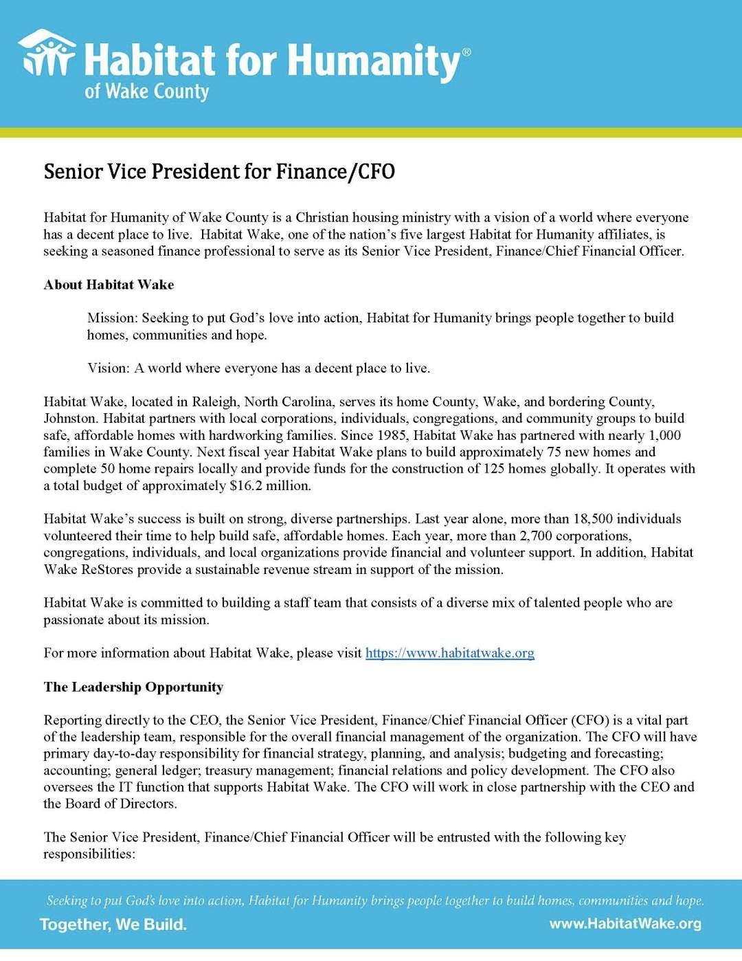 Senior Vice President for Finance/CFO – Habitat for Humanity of Wake