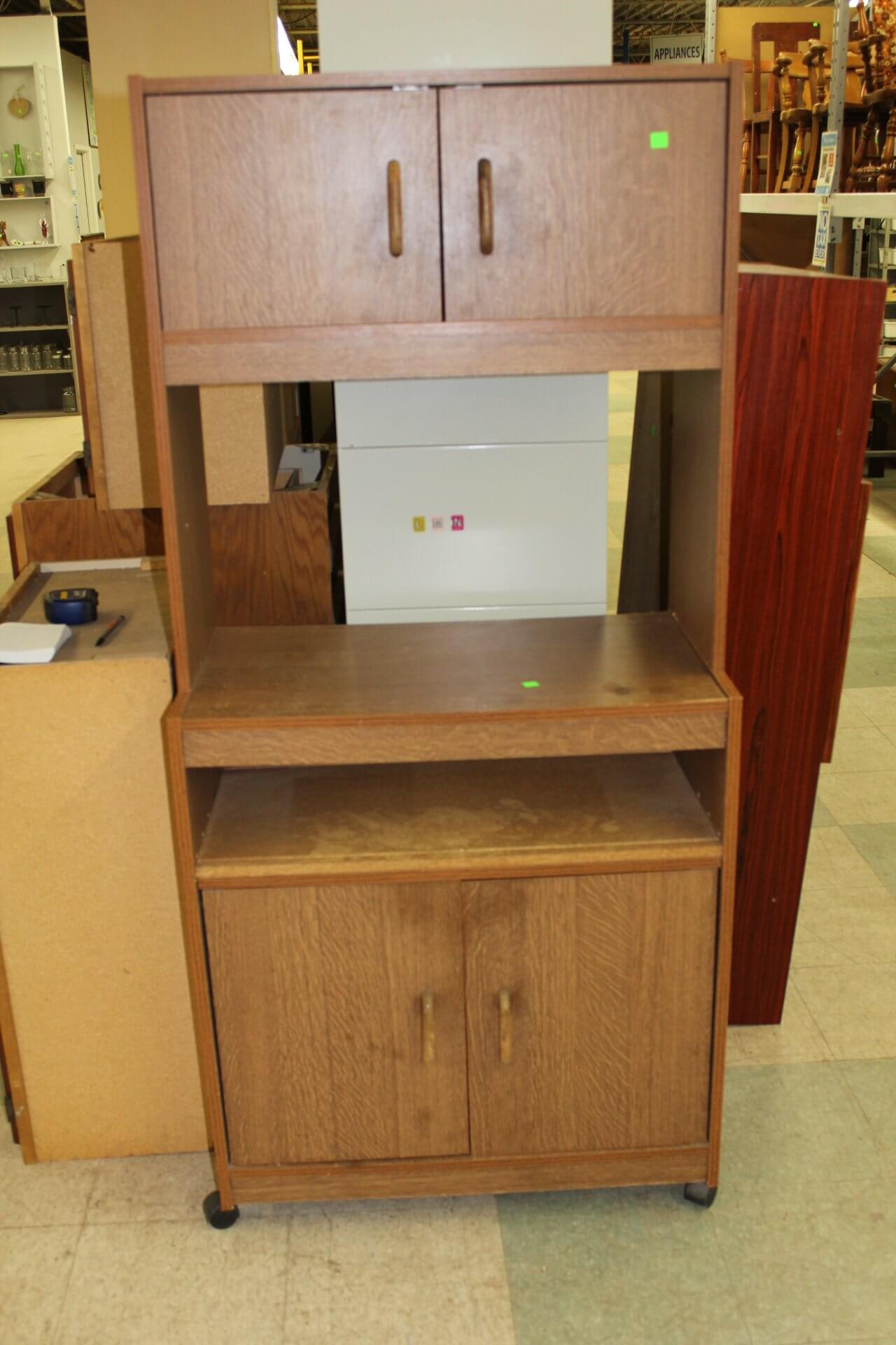wooden microwave stand