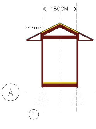 "Figures A1-A4 use a 90cm module. Other 30cm module increments (e.g., 120cm) could also be used. Maximum bay width would likely be set at 360cm (~11'-9 ¾""), primarily to achieve beams manageable by 2 able-bodied persons. Wider bay sizes are achievable in special cases such as school structures. The images all show a GABLE ROOF with a 27˚ SLOPE (6/12); one of many roof types available within HabiTek's menu of components parts. Except for A-2, all three of these small structures are elevated on PIERS."