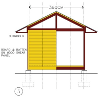 Here prefabricated wood SHEAR PANELS are illustrated. These panels would be strengthened with steel straps to develop required rigidity, and bolted to the surrounding steel members. Shear panels can be supplied by HabiTek or fabricated locally.
