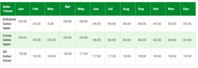safari horario kruger