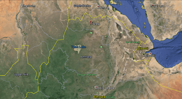 This image give you a general idea of where Tigray is located.