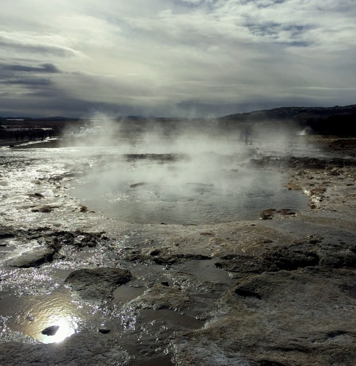 A geyser getting ready to blow in Haukadalur Valley.