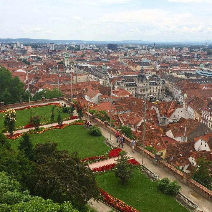 A view of Graz from Schlossberg Hill.