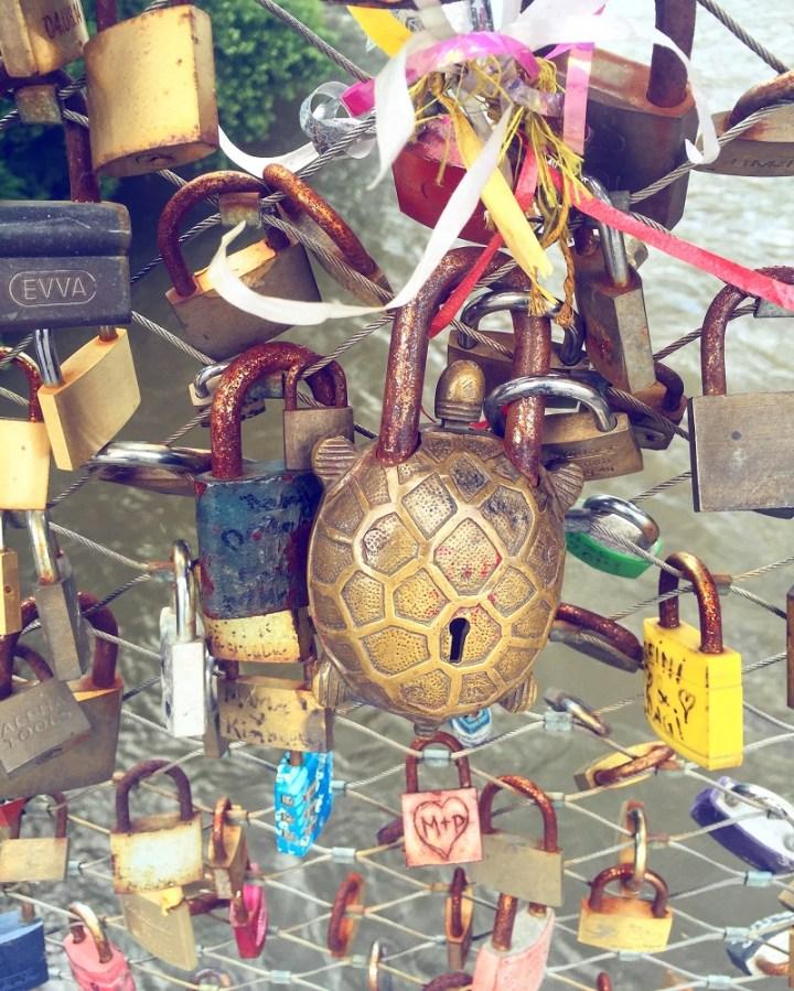 Love locks on the Hauptbruecke.