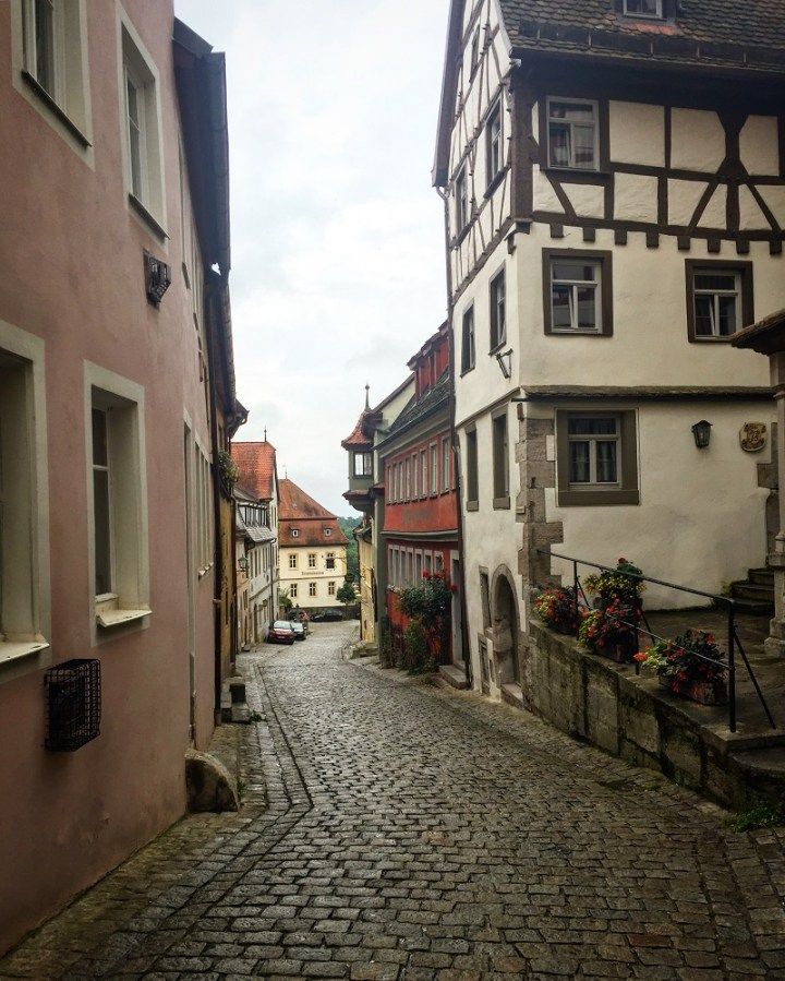 Strolling the streets of Rothenburg.