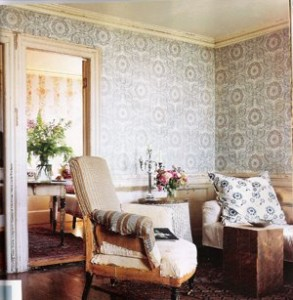Each Room Has Beautiful Old Wallpaper That Creates A Backdrop To John Derian S New Line Of Furniture