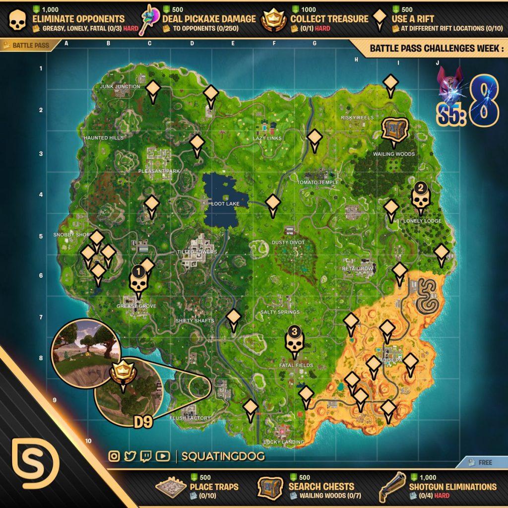 mapa estrella de batalla oculta semana 8 fortnite