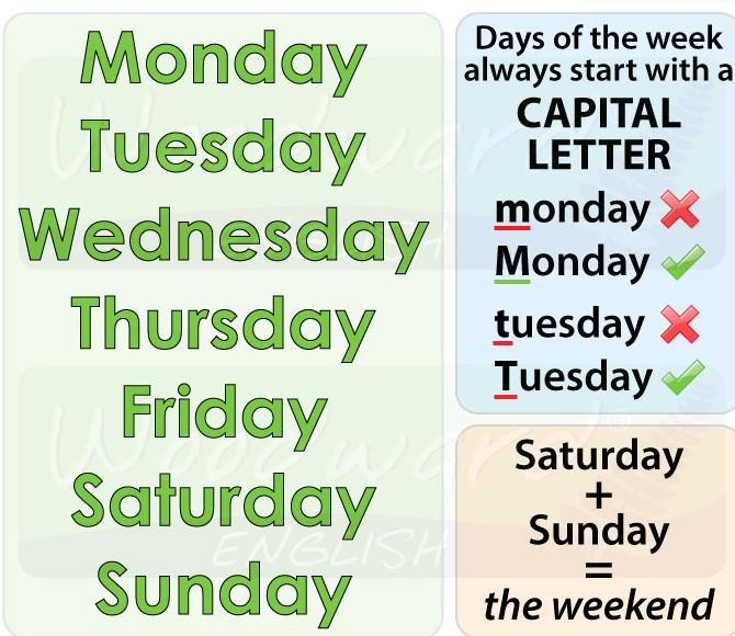 Ejercicios para practicar los días de la semana en inglés