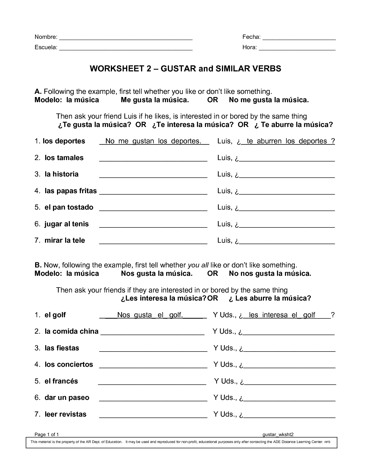 Spanish Past Tense Worksheet