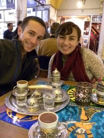 "Harry and Maria ""enjoying"" some coffee."