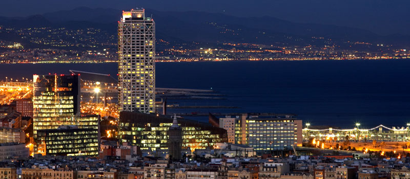 city of barcelona at night