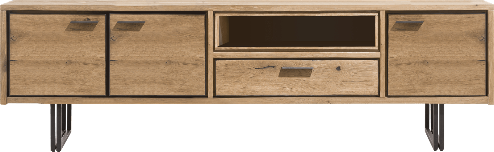 denmark lowboard 200 cm 3 portes 1 tiroir 1 niche led