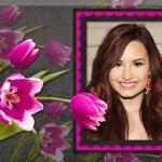 Fotomontaje con flores rosas