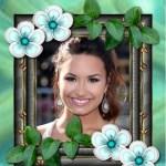 Fotomontaje de cuadro con flores y hojitas