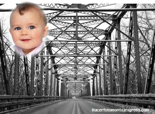 Fotomontaje de puente hierro