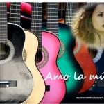 Fotomontaje con frase: Amo la música!