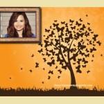 Fotomontaje de fantasía con árbol de mariposas