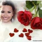 Bonito fotomontaje con rosas rojas