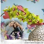 Fotomontaje de vasija con flores