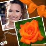 Fotomontaje para mujeres con flor naranja
