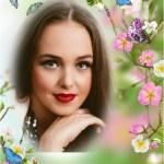 Fotomontaje de mariposas y flores