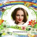Fotomontaje de arcoiris con mariposas y flores