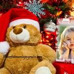 Fotomontaje de Navidad con tierno peluche