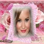 Fotomontaje de marco rosa con corazones y brillos