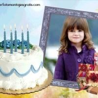Fotomontaje con pastel de Cumpleaños