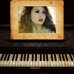 Fotomontaje vintage con piano