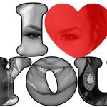 """Fotomontaje con frase """"I Love You"""""""