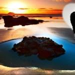 Fotomontaje de paisaje romántico