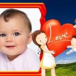 """Fotomontaje """"Love"""" con tiernos angelitos y corazón"""