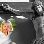 Fotomontaje de Jesús en la cruz